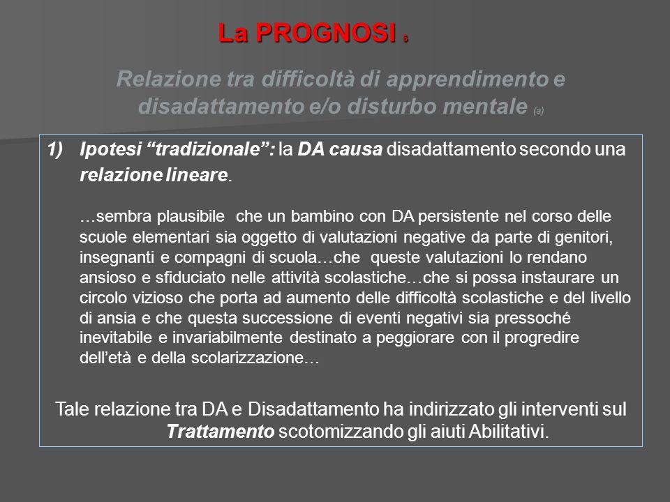 La PROGNOSI 6Relazione tra difficoltà di apprendimento e disadattamento e/o disturbo mentale (a)