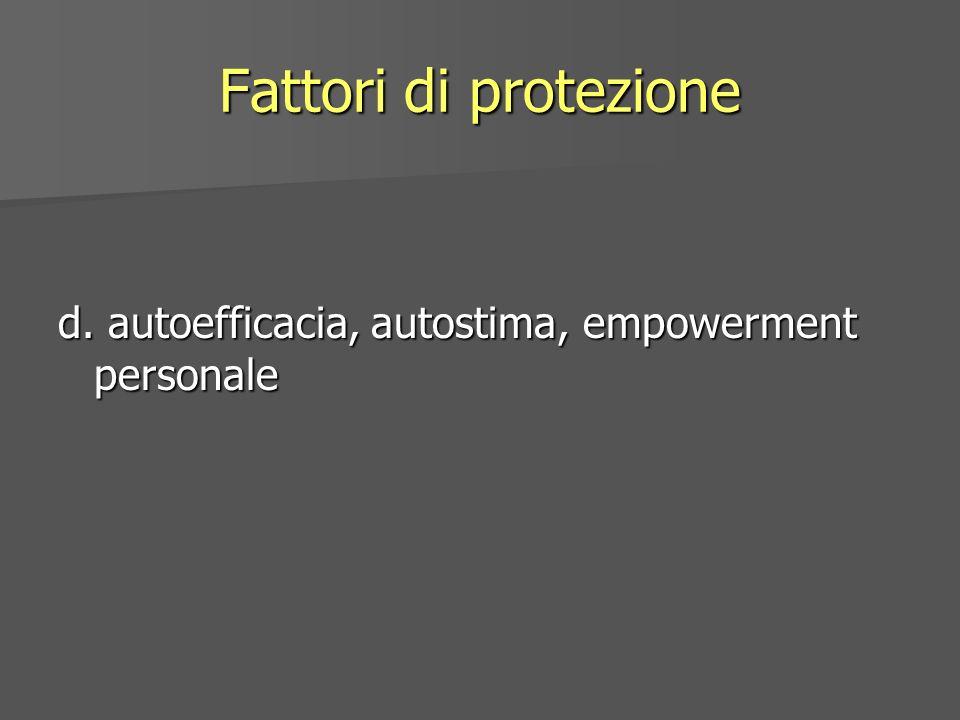 Fattori di protezione d. autoefficacia, autostima, empowerment personale