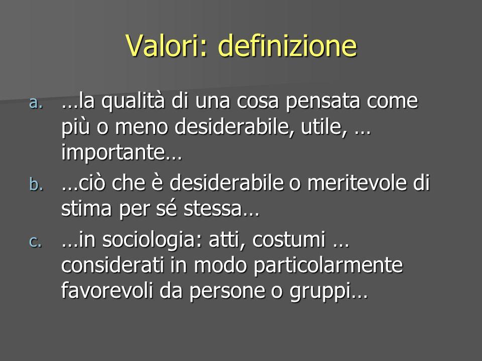 Valori: definizione…la qualità di una cosa pensata come più o meno desiderabile, utile, … importante…