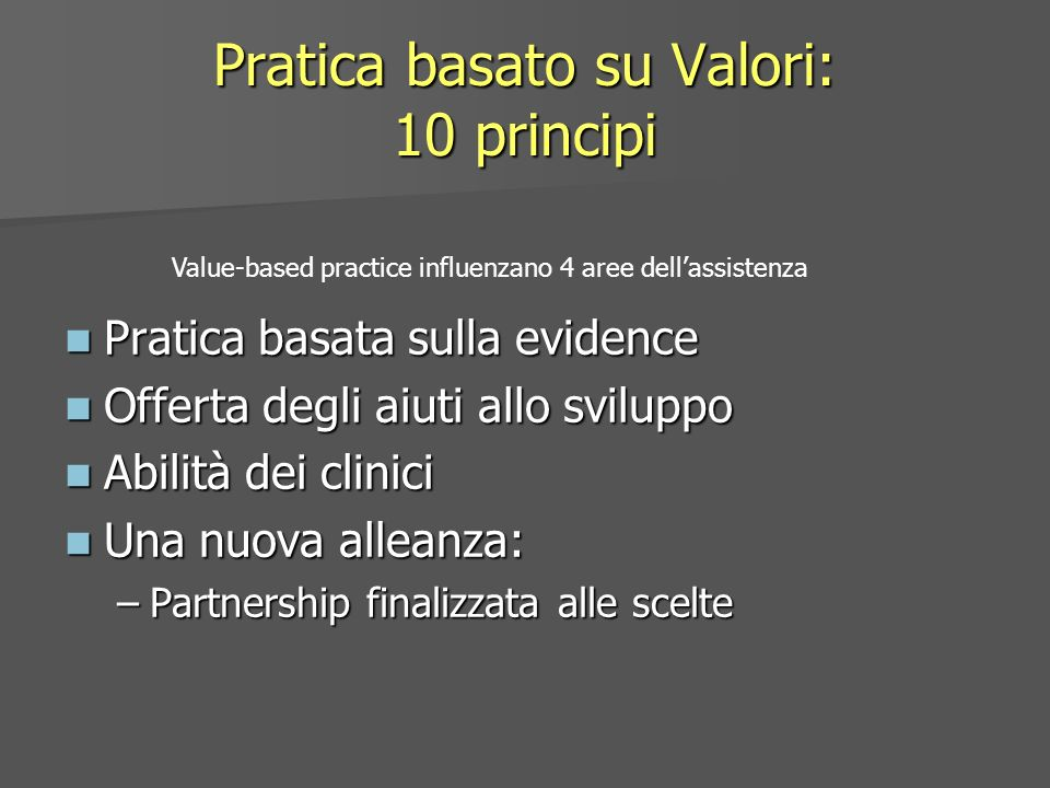 Pratica basato su Valori: 10 principi