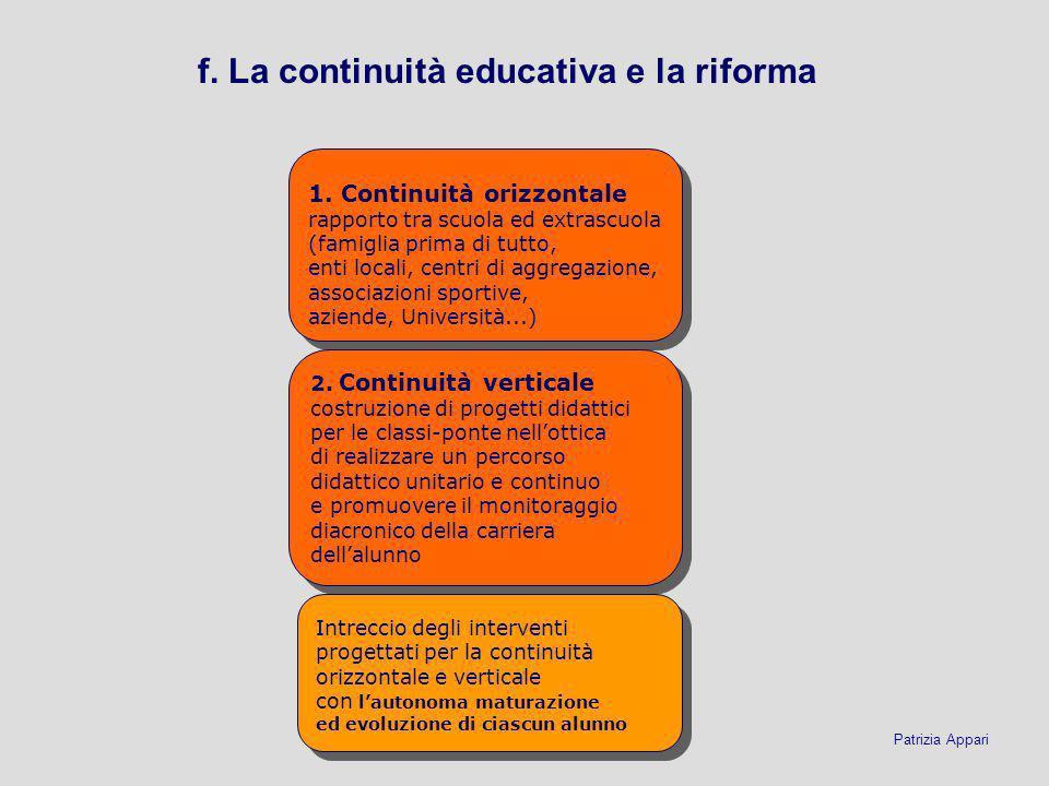 f. La continuità educativa e la riforma