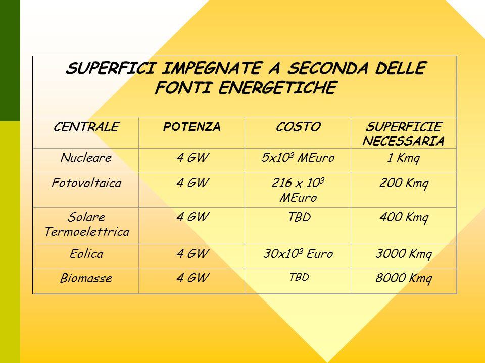 SUPERFICI IMPEGNATE A SECONDA DELLE FONTI ENERGETICHE