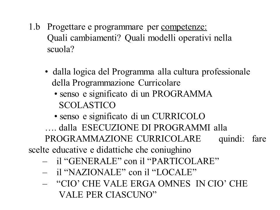 1. b Progettare e programmare per competenze: Quali cambiamenti