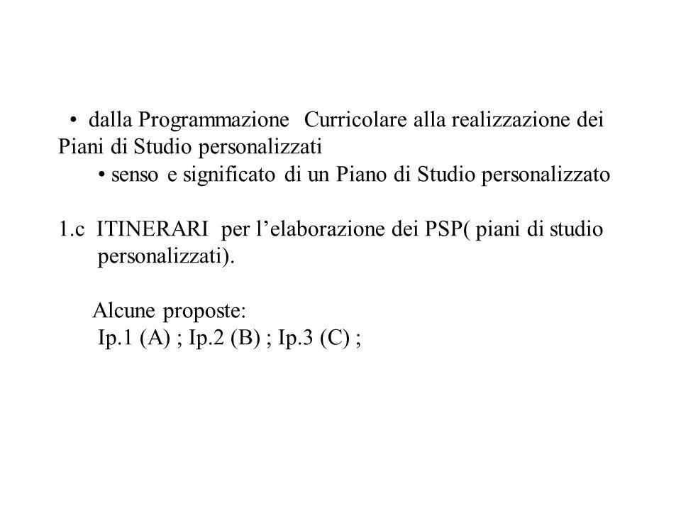• dalla Programmazione Curricolare alla realizzazione dei Piani di Studio personalizzati • senso e significato di un Piano di Studio personalizzato 1.c ITINERARI per l'elaborazione dei PSP( piani di studio personalizzati).