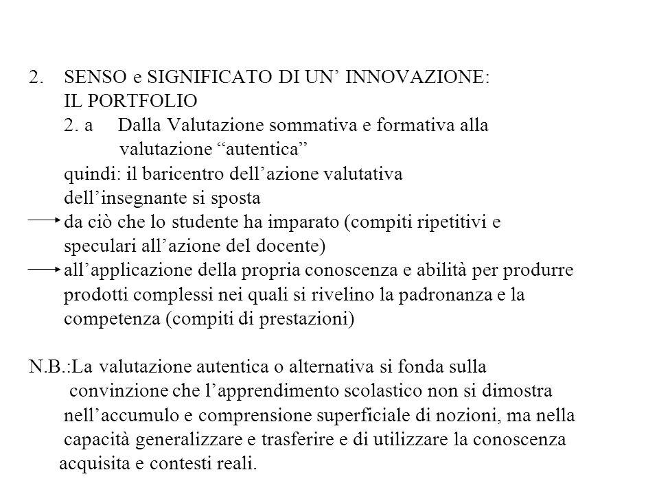 2. SENSO e SIGNIFICATO DI UN' INNOVAZIONE: IL PORTFOLIO 2