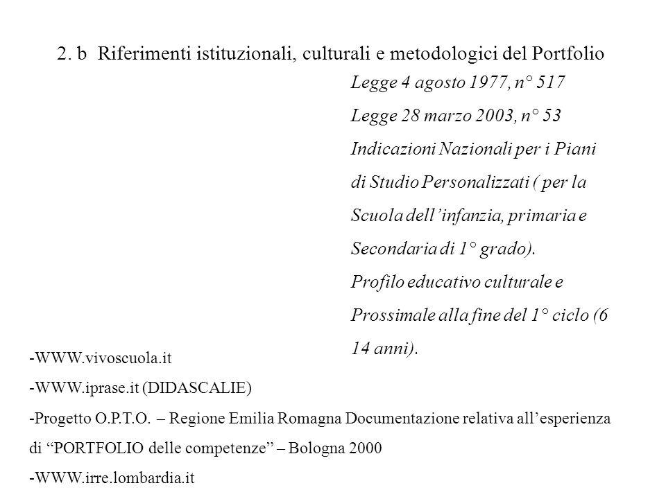 2. b Riferimenti istituzionali, culturali e metodologici del Portfolio