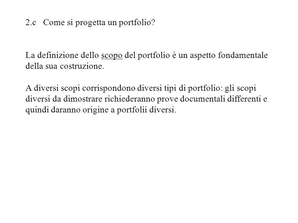 2.c Come si progetta un portfolio
