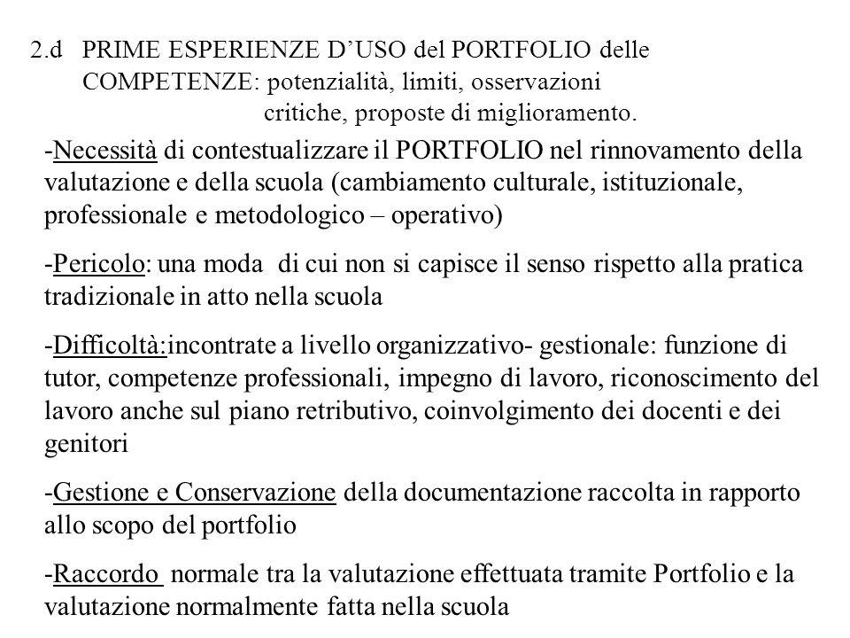 2.d PRIME ESPERIENZE D'USO del PORTFOLIO delle