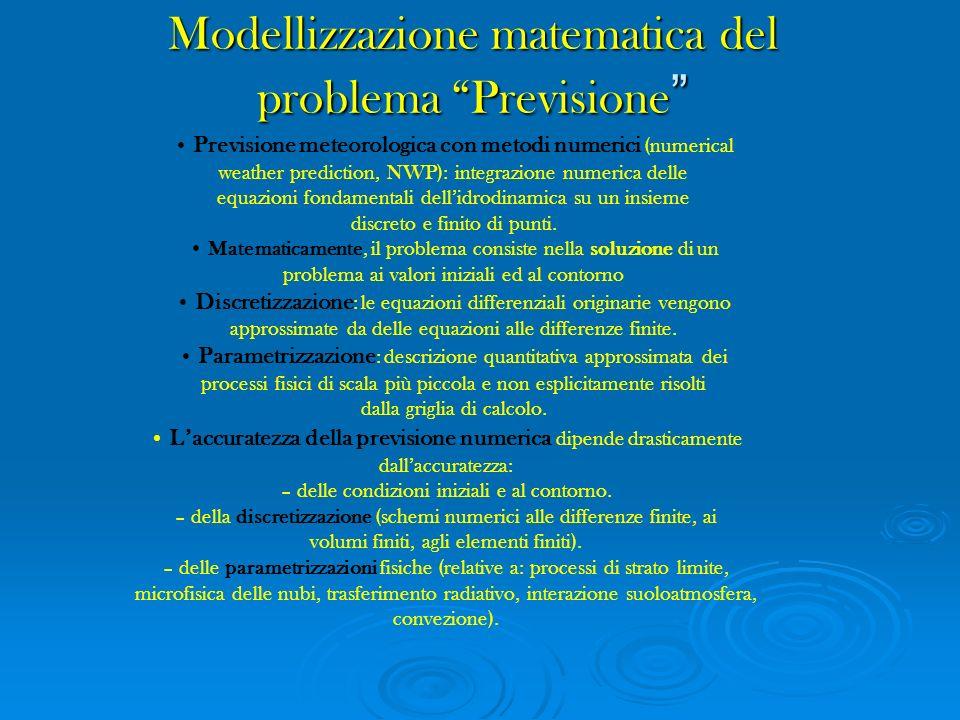 Modellizzazione matematica del problema Previsione