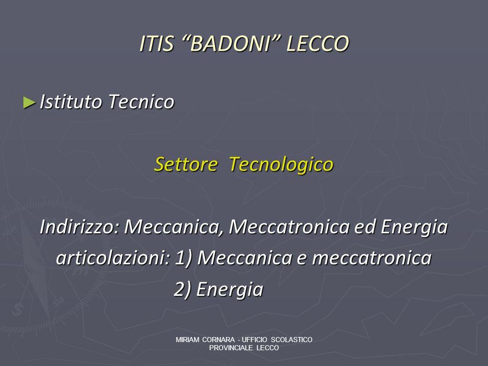 ITIS BADONI LECCO Istituto Tecnico Settore Tecnologico