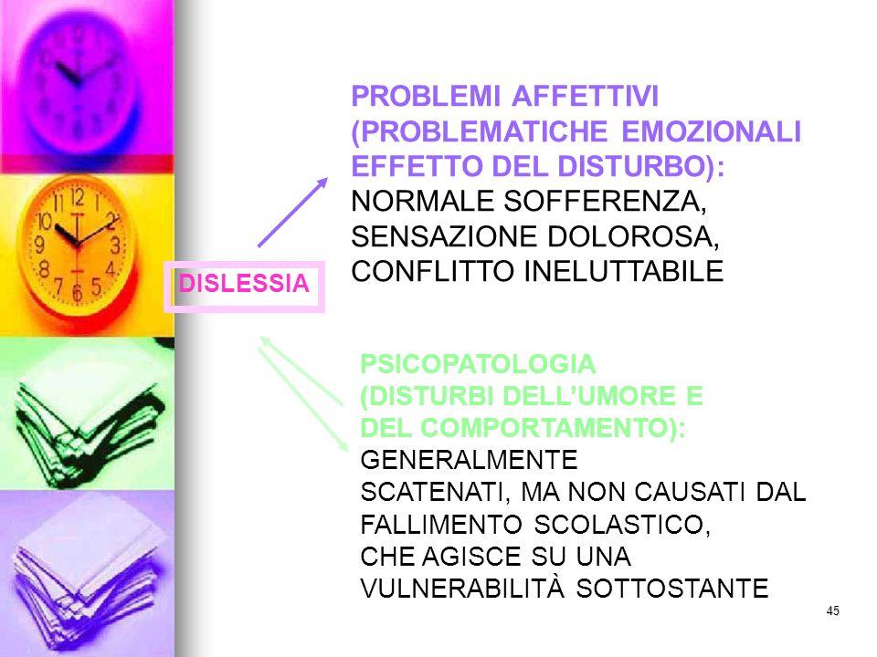 (PROBLEMATICHE EMOZIONALI EFFETTO DEL DISTURBO): NORMALE SOFFERENZA,