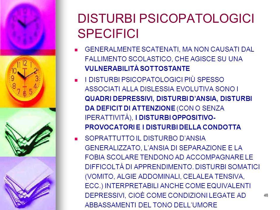 DISTURBI PSICOPATOLOGICI SPECIFICI