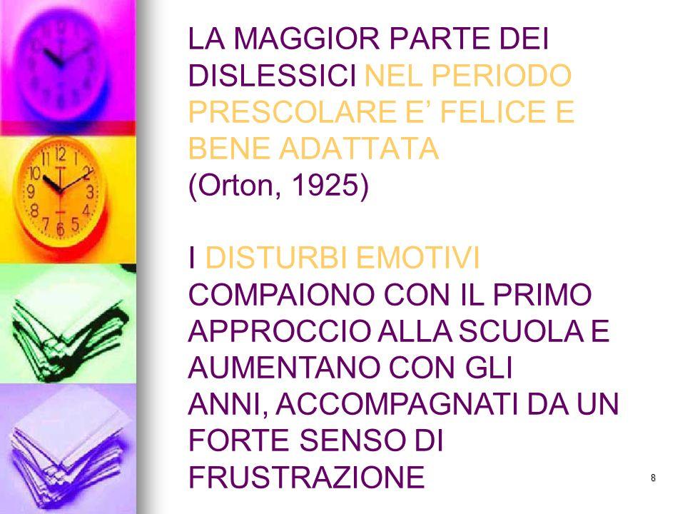 LA MAGGIOR PARTE DEI DISLESSICI NEL PERIODO PRESCOLARE E' FELICE E BENE ADATTATA (Orton, 1925)