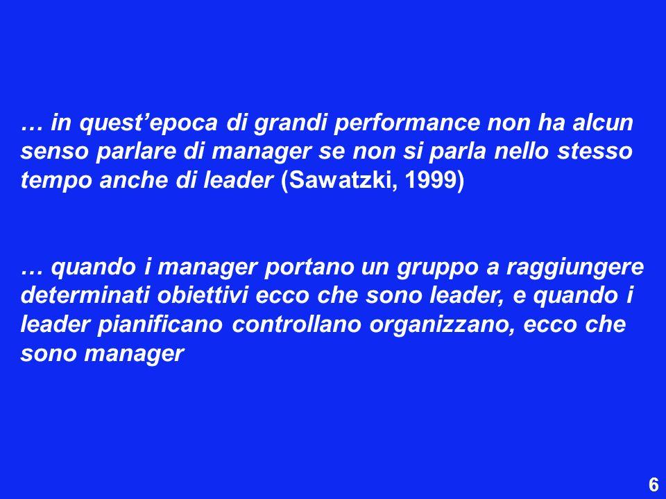 … in quest'epoca di grandi performance non ha alcun senso parlare di manager se non si parla nello stesso tempo anche di leader (Sawatzki, 1999)
