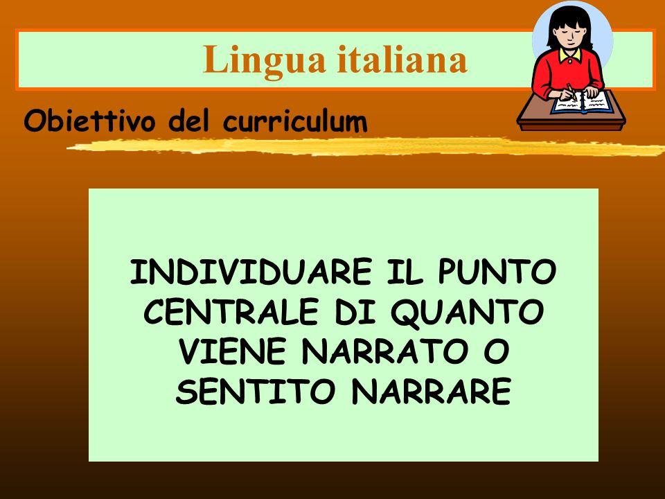 Lingua italiana Obiettivo del curriculum.