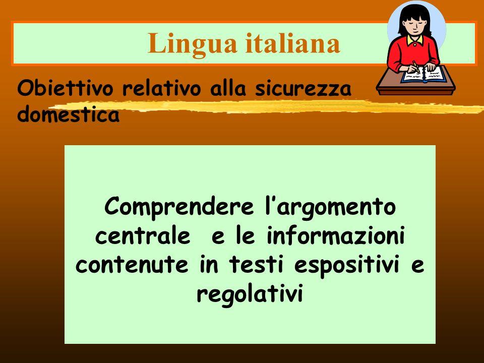 Lingua italiana Obiettivo relativo alla sicurezza domestica.