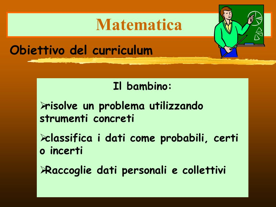 Matematica Obiettivo del curriculum Il bambino: