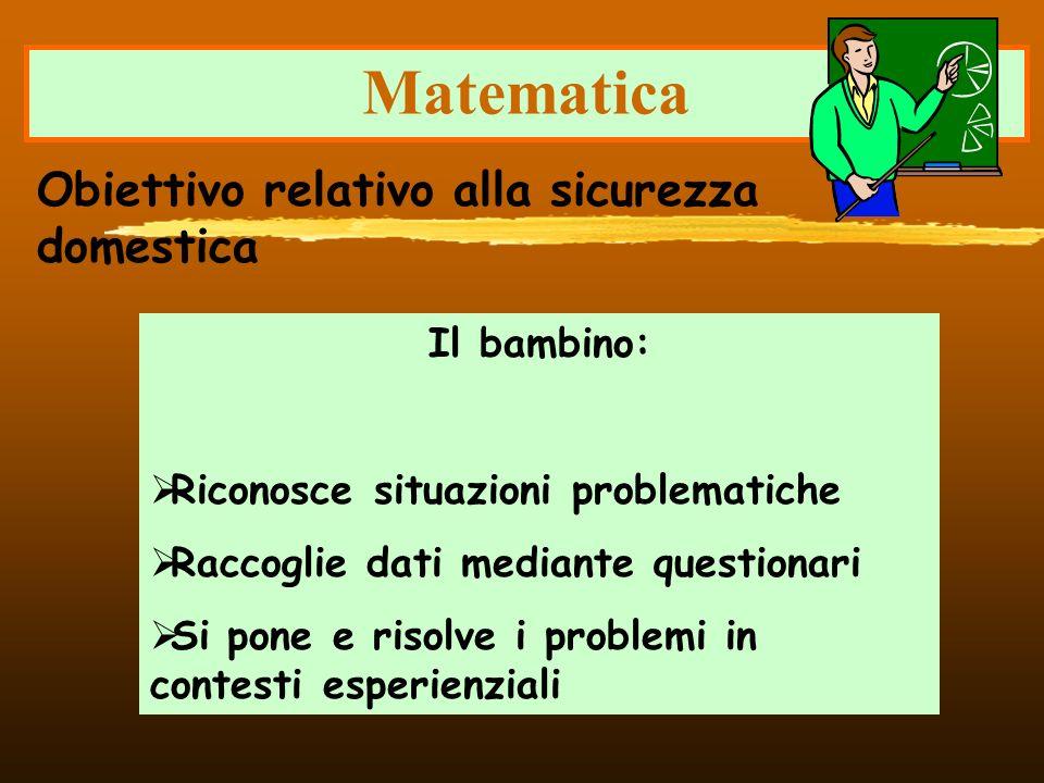 Matematica Obiettivo relativo alla sicurezza domestica Il bambino: