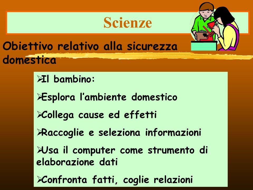 Scienze Obiettivo relativo alla sicurezza domestica Il bambino: