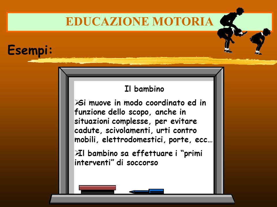 EDUCAZIONE MOTORIA Esempi: Il bambino