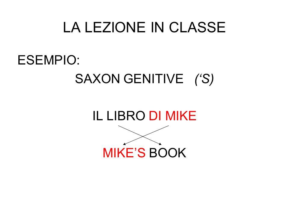 LA LEZIONE IN CLASSE ESEMPIO: SAXON GENITIVE ('S) IL LIBRO DI MIKE