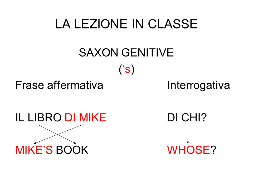 LA LEZIONE IN CLASSE SAXON GENITIVE ('s)