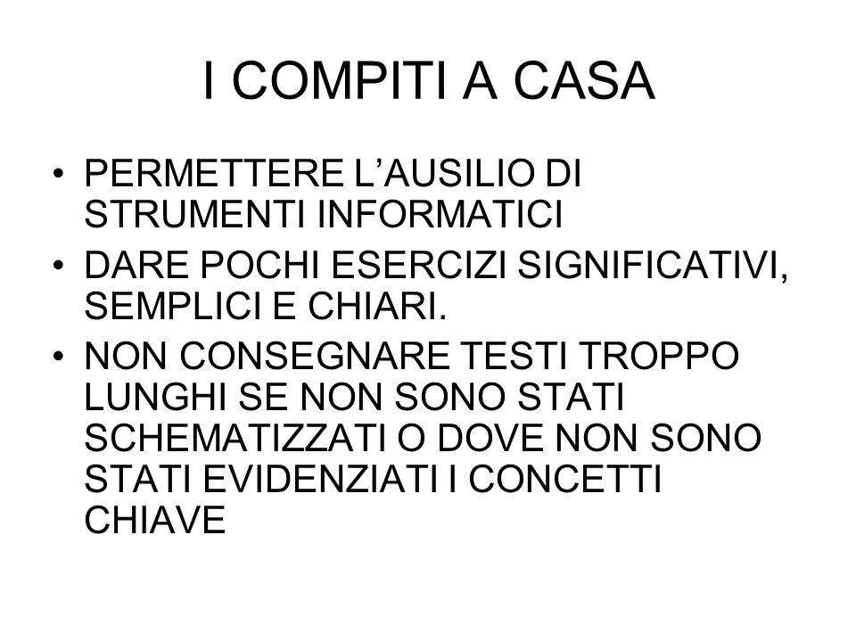 I COMPITI A CASA PERMETTERE L'AUSILIO DI STRUMENTI INFORMATICI
