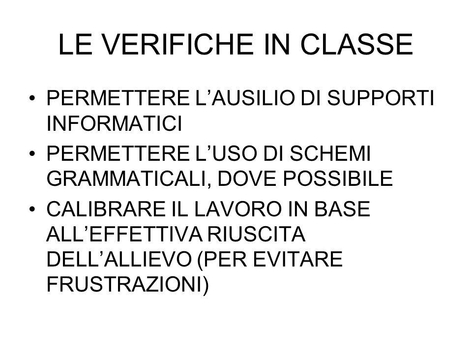 LE VERIFICHE IN CLASSE PERMETTERE L'AUSILIO DI SUPPORTI INFORMATICI
