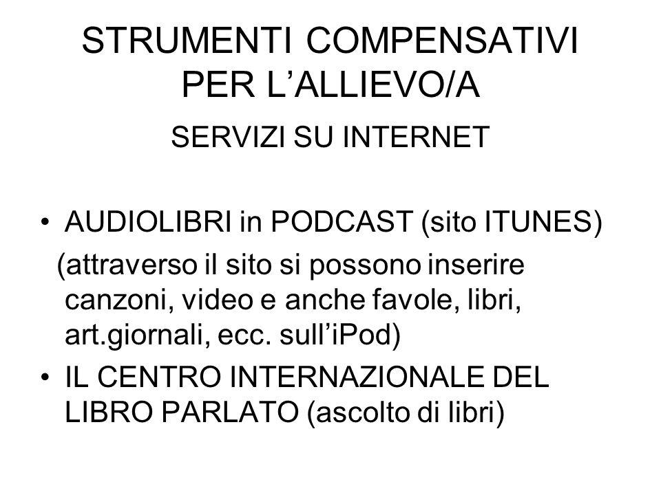 STRUMENTI COMPENSATIVI PER L'ALLIEVO/A