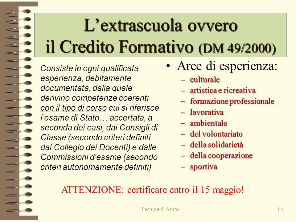 L'extrascuola ovvero il Credito Formativo (DM 49/2000)