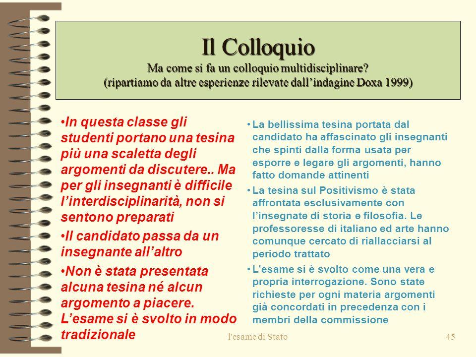 Il Colloquio Ma come si fa un colloquio multidisciplinare (ripartiamo da altre esperienze rilevate dall'indagine Doxa 1999)