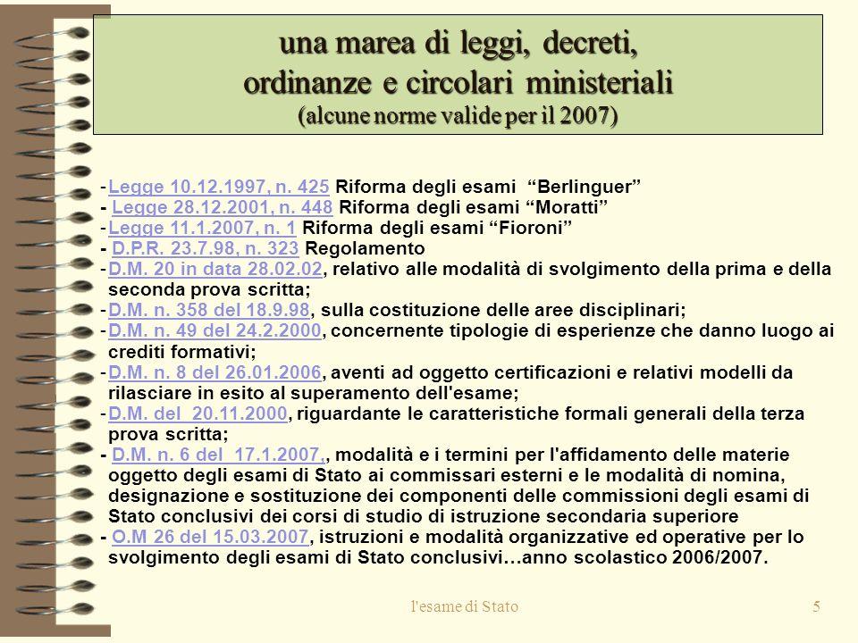una marea di leggi, decreti, ordinanze e circolari ministeriali (alcune norme valide per il 2007)