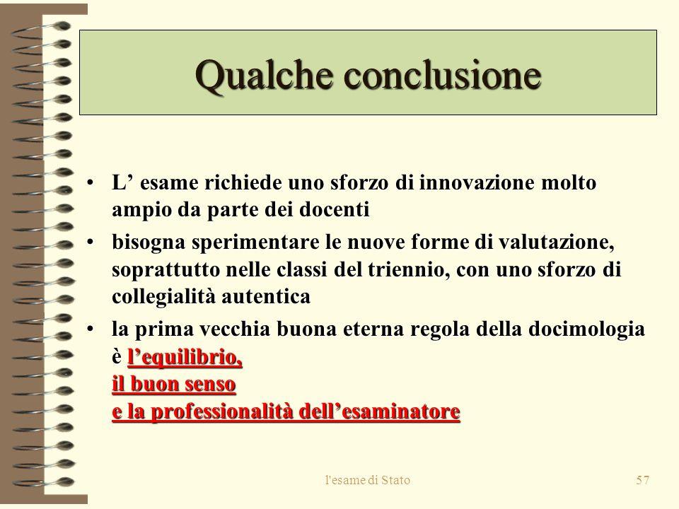 Qualche conclusione L' esame richiede uno sforzo di innovazione molto ampio da parte dei docenti.