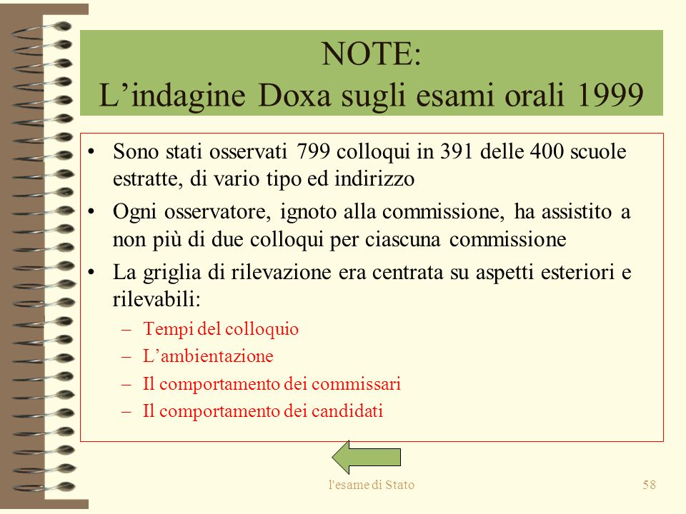 NOTE: L'indagine Doxa sugli esami orali 1999
