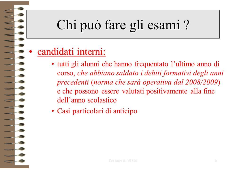 Chi può fare gli esami candidati interni: