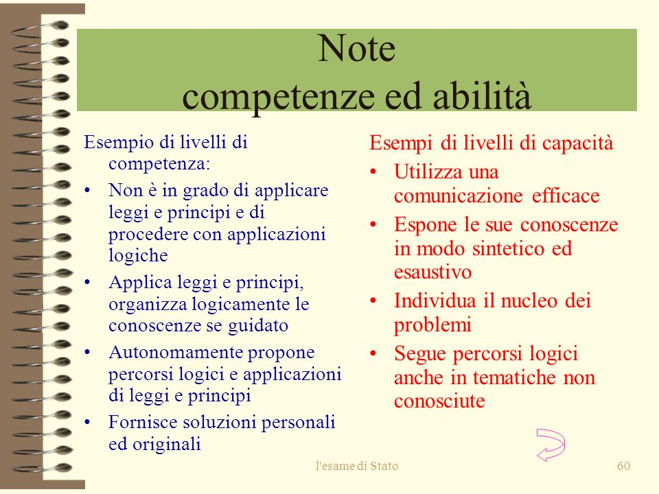 Note competenze ed abilità