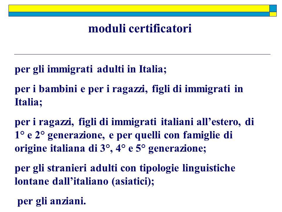 moduli certificatori per gli immigrati adulti in Italia;