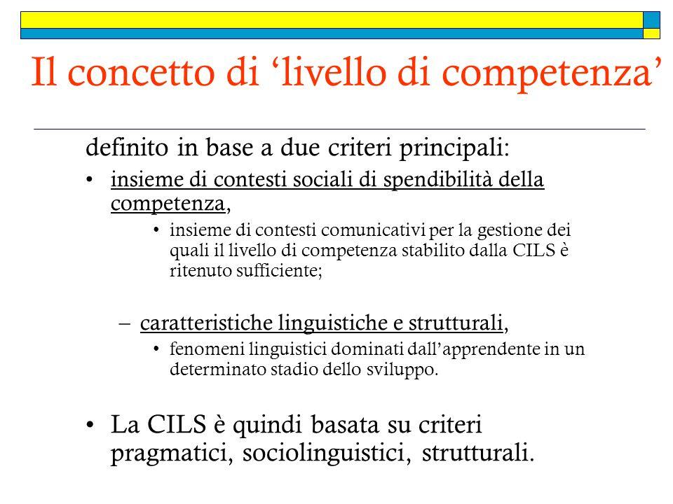 Il concetto di 'livello di competenza'