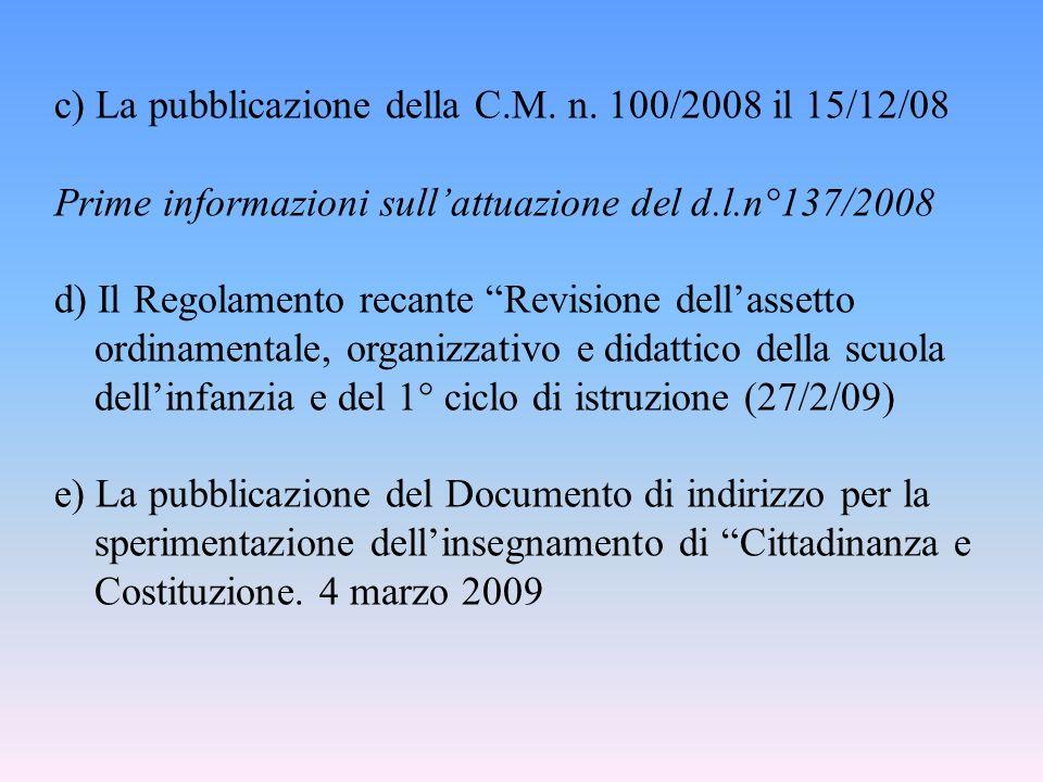 c) La pubblicazione della C.M. n. 100/2008 il 15/12/08