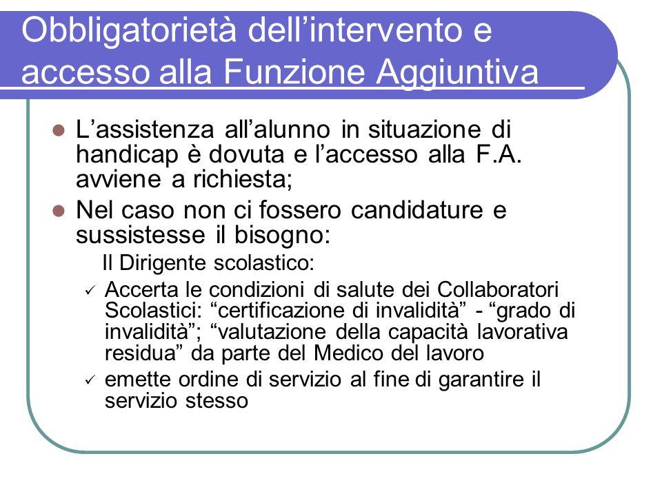 Obbligatorietà dell'intervento e accesso alla Funzione Aggiuntiva