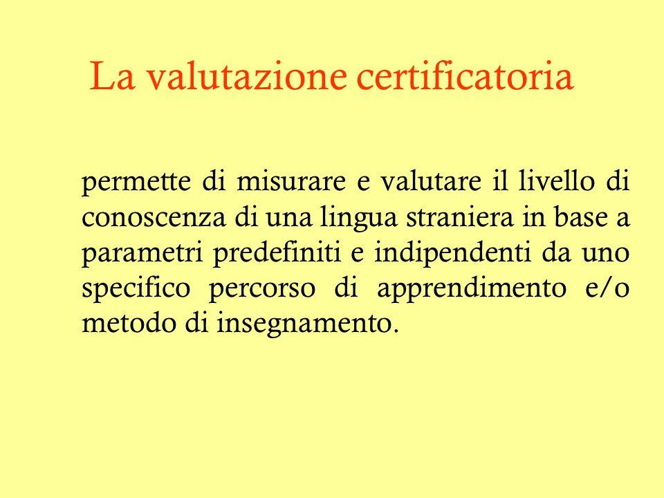 La valutazione certificatoria