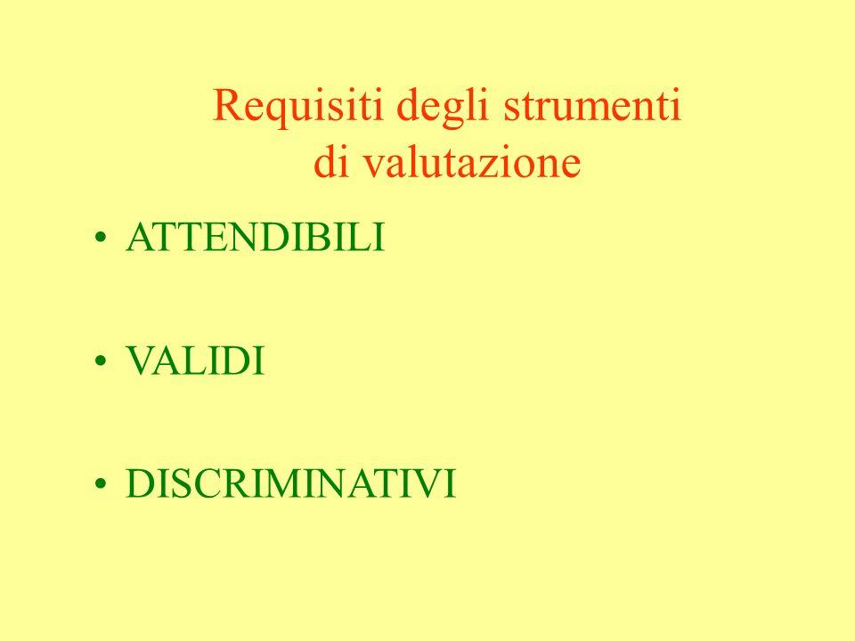 Requisiti degli strumenti di valutazione