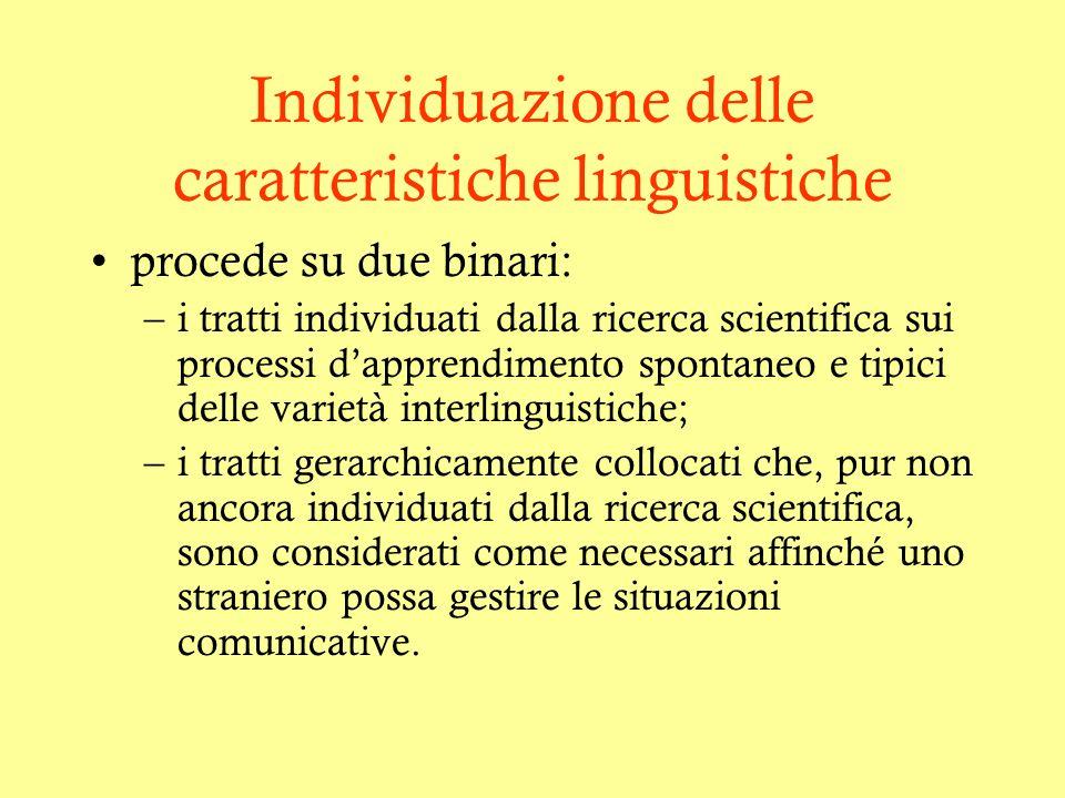 Individuazione delle caratteristiche linguistiche