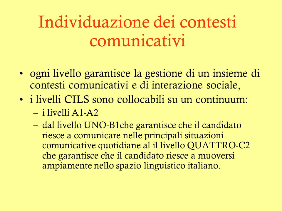 Individuazione dei contesti comunicativi