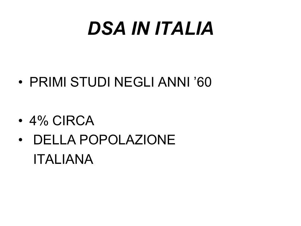 DSA IN ITALIA PRIMI STUDI NEGLI ANNI '60 4% CIRCA DELLA POPOLAZIONE