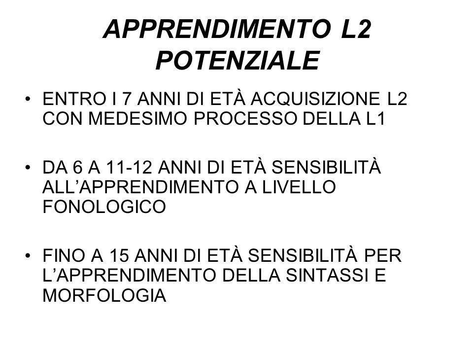 APPRENDIMENTO L2 POTENZIALE