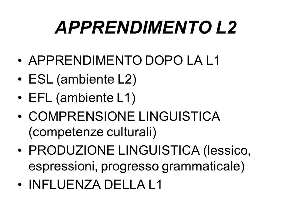 APPRENDIMENTO L2 APPRENDIMENTO DOPO LA L1 ESL (ambiente L2)