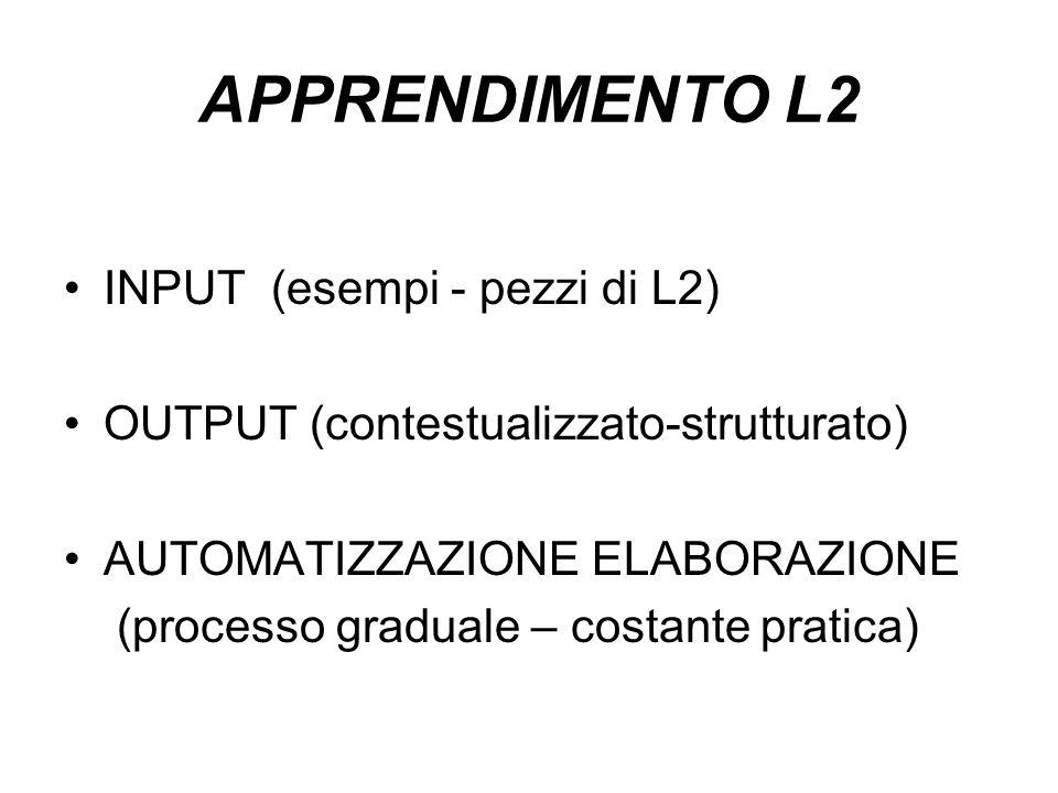 APPRENDIMENTO L2 INPUT (esempi - pezzi di L2)