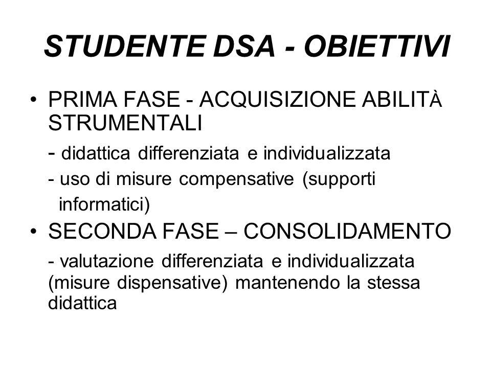 STUDENTE DSA - OBIETTIVI