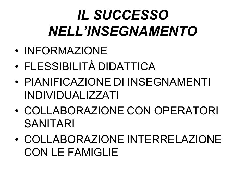 IL SUCCESSO NELL'INSEGNAMENTO